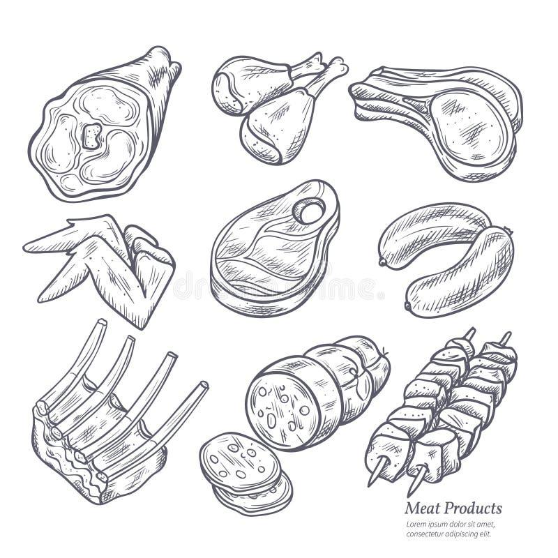 Gastronomiska köttprodukter skissar stock illustrationer