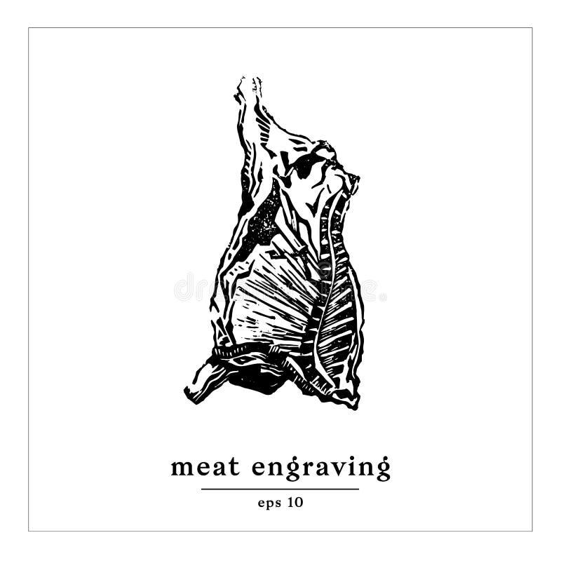 Gastronomiskt inrista text Art Template för arcass för ¡ för Ð-¡ ow Ð stock illustrationer