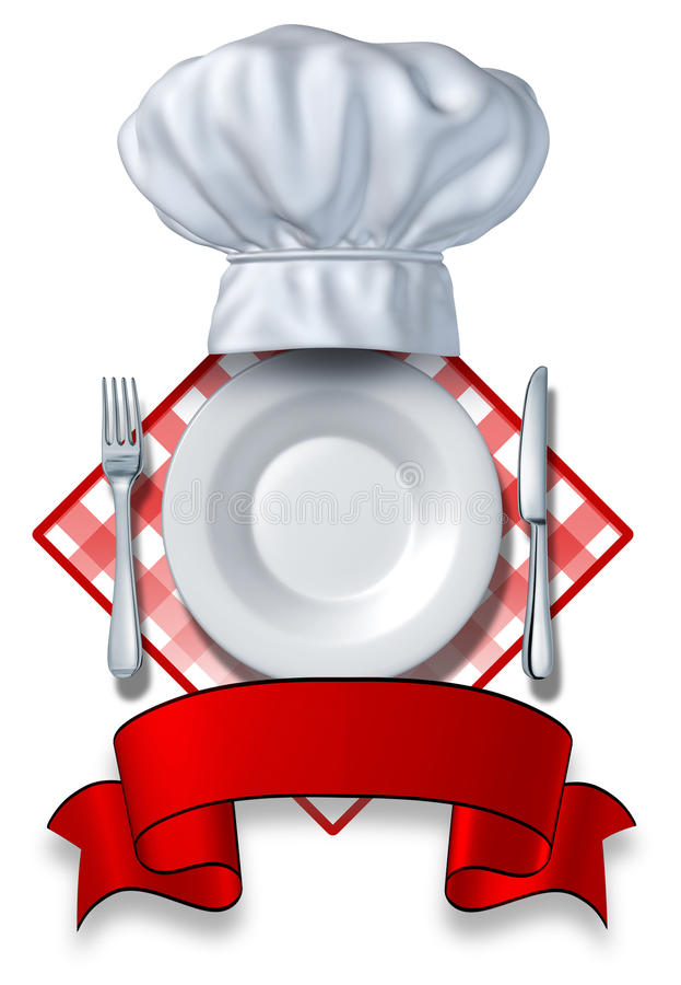 Gaststätte-Auslegung mit einer Platte und einem Hut lizenzfreie abbildung