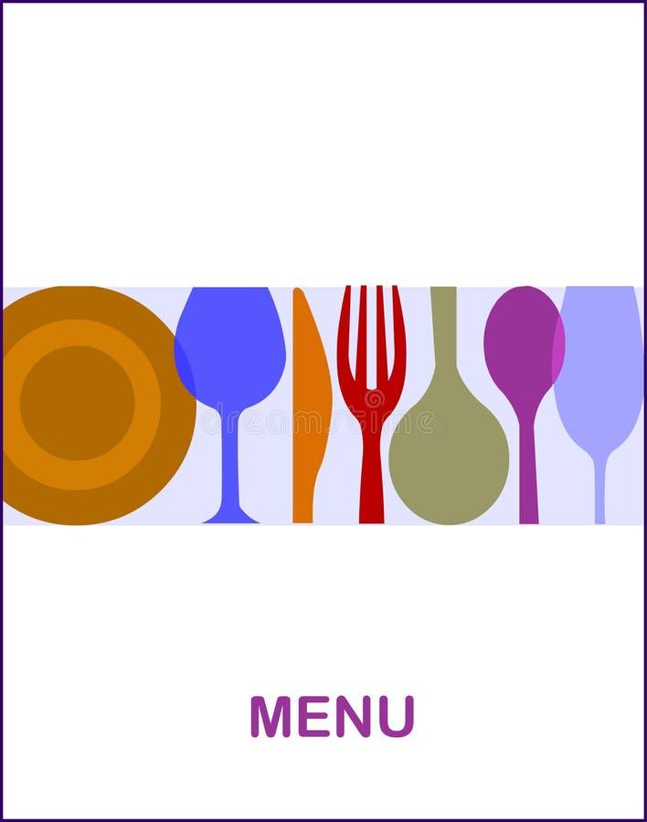 Gaststättemenü mit einem weißen Hintergrund -1 stock abbildung