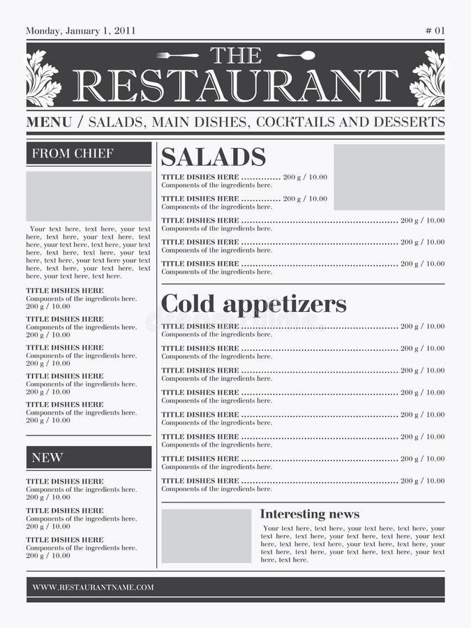 Gaststättemenüauslegung stock abbildung