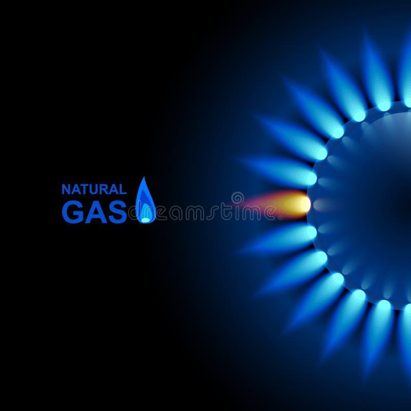Gasvlam met blauwe bezinning over donkere achtergrond Het kan voor prestaties van het ontwerpwerk noodzakelijk zijn Eps 10 stock illustratie