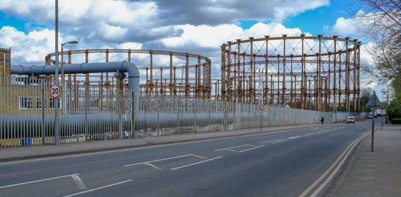 Gaswerk in Ost-London, veraltet und verlassen lizenzfreie stockfotografie