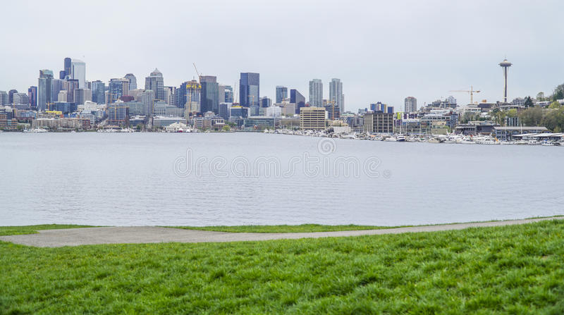 Gasworks Park and Lake Union in Seattle - SEATTLE / WASHINGTON - APRIL 11, 2017. Gasworks Park and Lake Union in Seattle stock photography