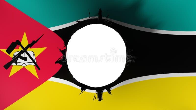 Gat dat in de vlag van Mozambique wordt gesneden royalty-vrije illustratie