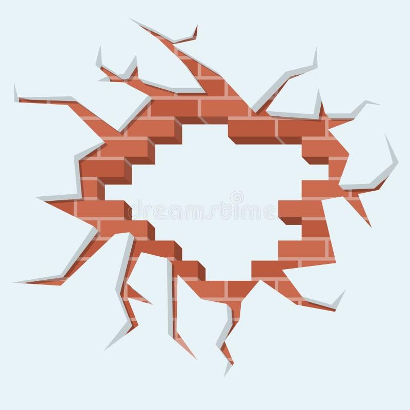 Gat in muur Vernietigde baksteen, gebarsten cement stock illustratie