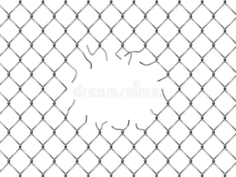 Gat in omheining van zilveren netwerk royalty-vrije illustratie