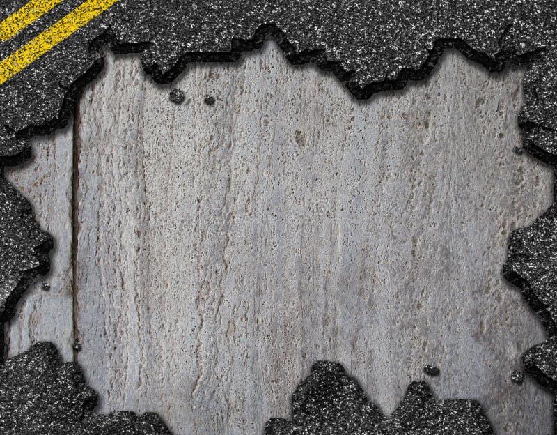 Gat op de achtergrond van de asfaltweg stock foto