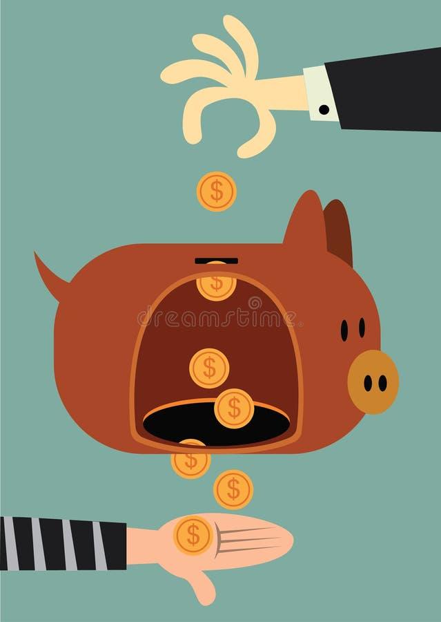 Gat in piggy royalty-vrije stock foto