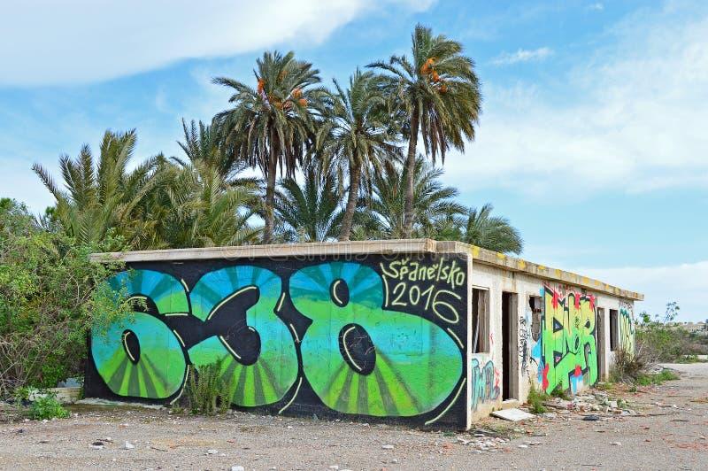 Gata Art Graffiti On en vägg arkivfoto