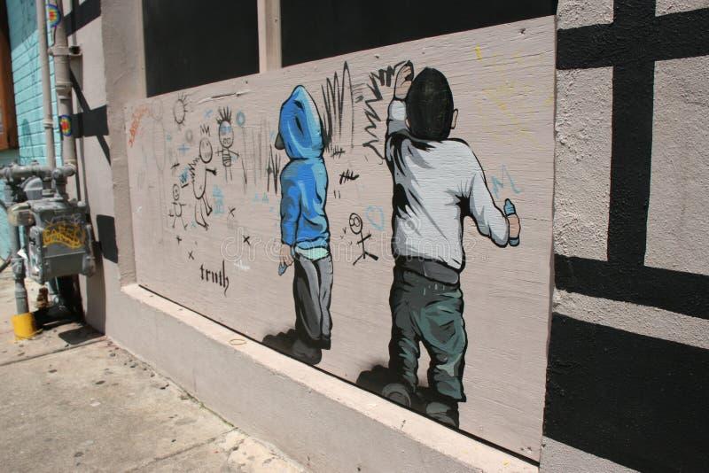 Gata Art Mural Graffiti royaltyfria bilder