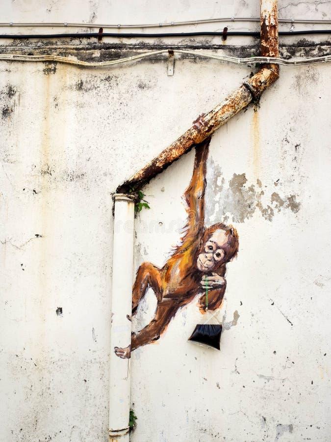 Gata Art Mural i Kuching, Sarawak, Malaysia fotografering för bildbyråer