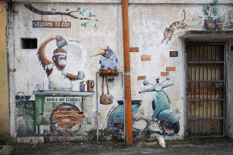 Gata Art Streetart i Malaysia arkivbild