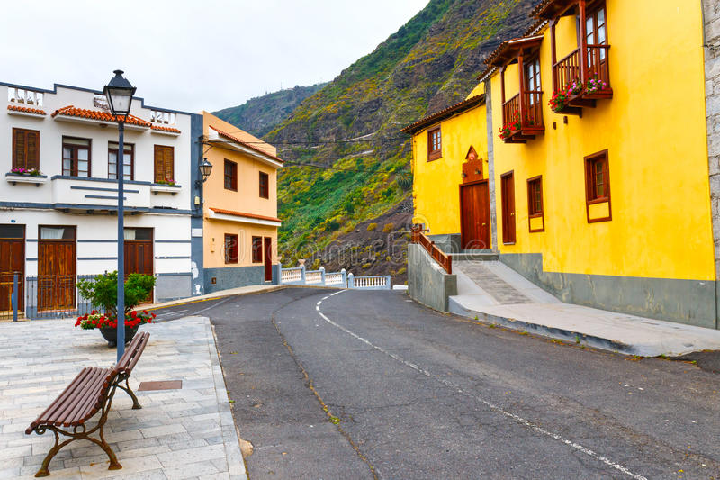 Gata av den Garachico staden på den Tenerife ön arkivbild