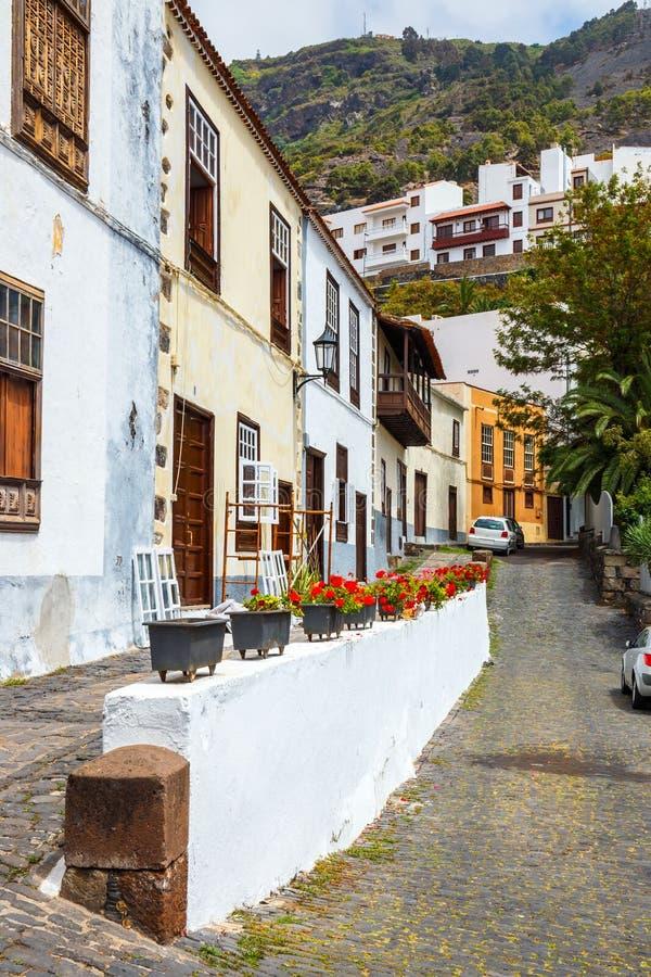 Gata av den Garachico staden på Tenerife arkivfoton