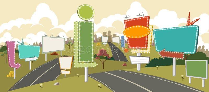 Gata av en färgrik stad stock illustrationer