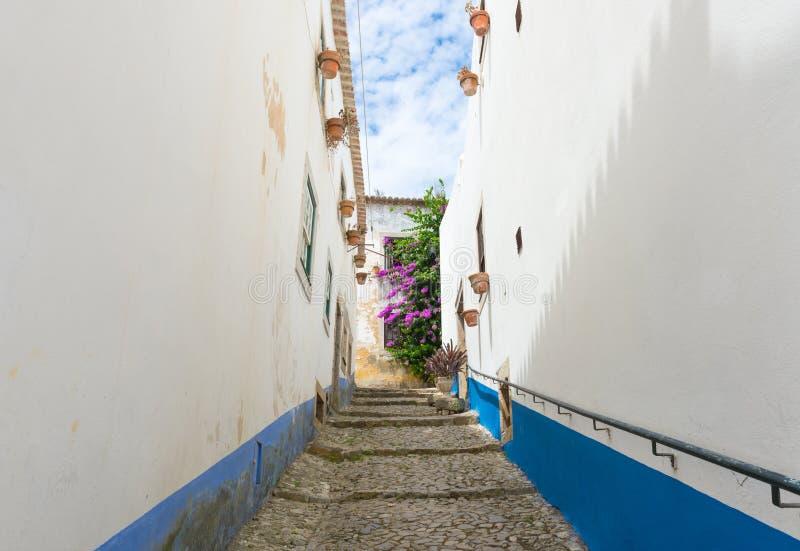 Gata av Obidos, Portugal arkivbilder