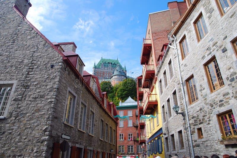 Gata av Quebec City fotografering för bildbyråer