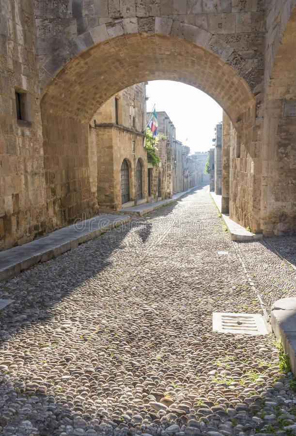 Gata av riddarna i Rhodes, Grekland arkivbilder