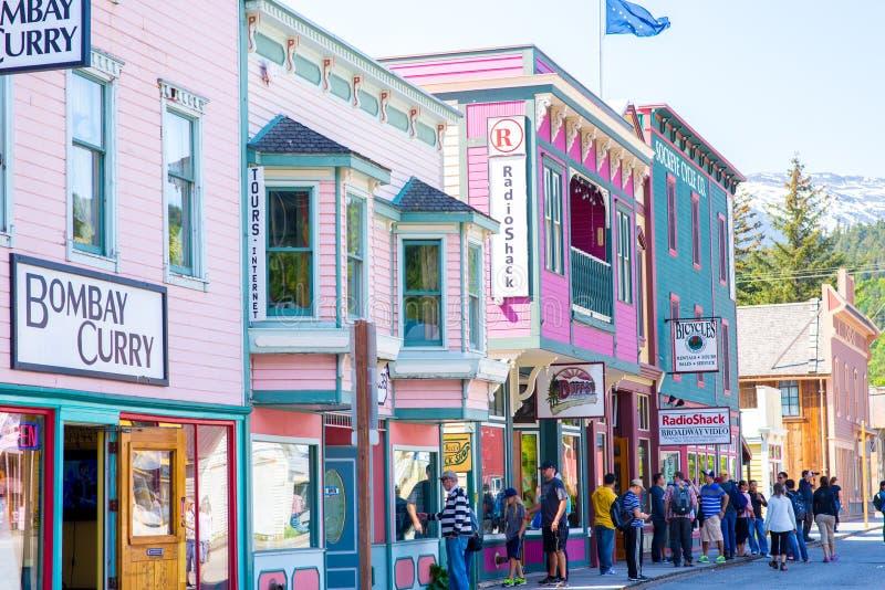 Gata av Skagway Alaska fotografering för bildbyråer