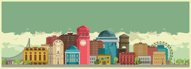 gata för bakgrundsstadsnatt stock illustrationer