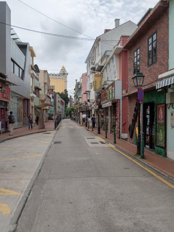 Gata för Rua DOS Bem Casados, Macao arkivbild