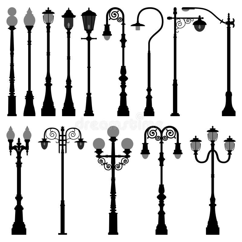 gata för väg för stolpe för ljus pol för lamplamppost royaltyfri illustrationer