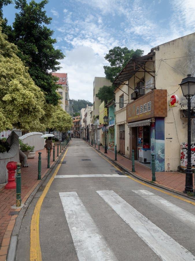 Gata f?r Rua DOS Bem Casados, Macao royaltyfri bild