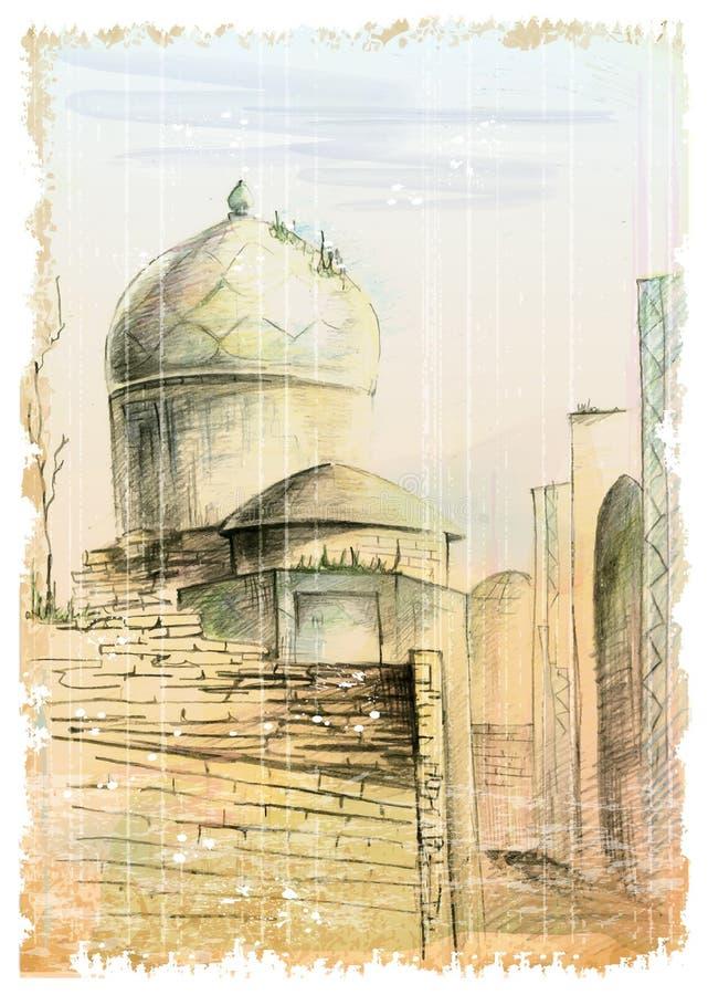 gata i östra staden vektor illustrationer