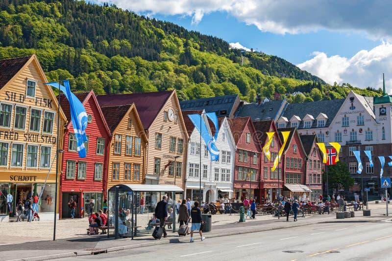 Gata i Bergen, Norge arkivbild