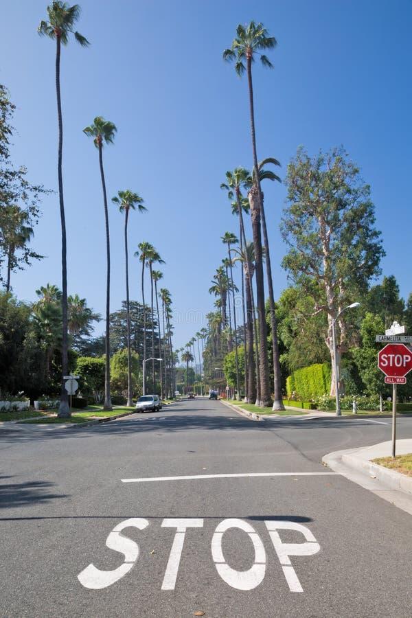 Gata i det Beverly Hills området, Los Angeles arkivfoto