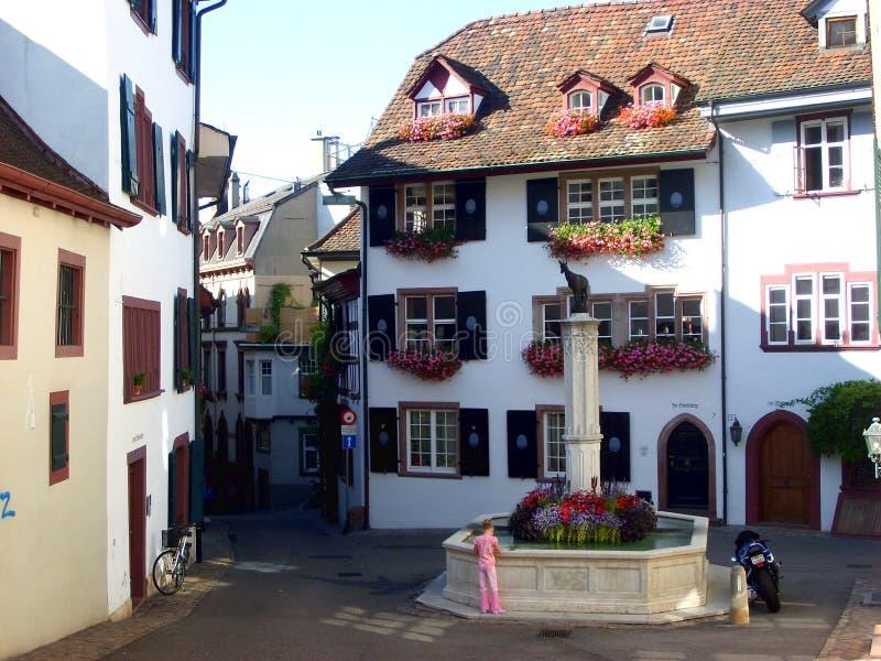 Gata i gammal delstad av Baseln arkivbilder