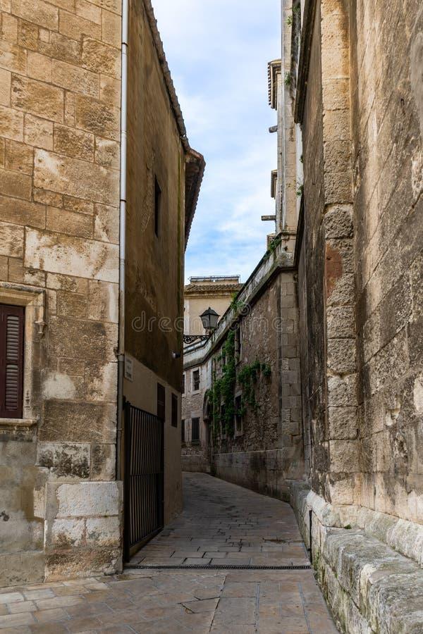 Gata i historisk mitt av Vilafranca del Penedes, Catalonia, Spanien fotografering för bildbyråer