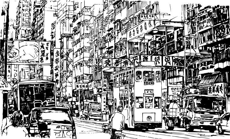 Gata i Hong Kong stock illustrationer