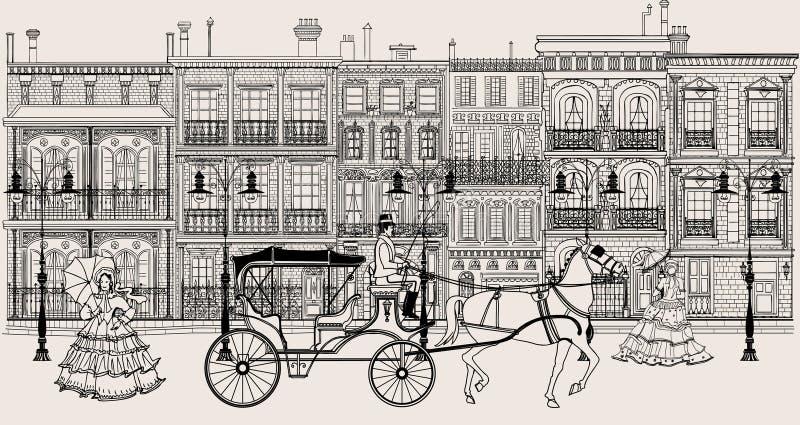 Gata i New Orleans stil vektor illustrationer
