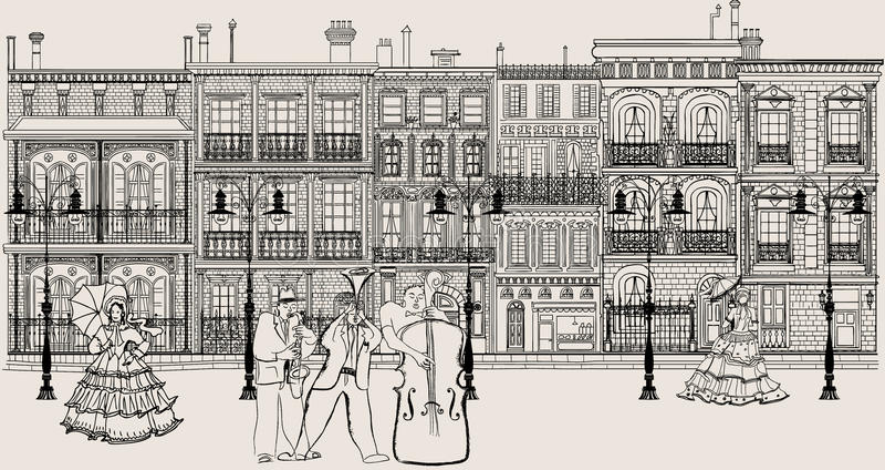 Gata i New Orleans stil med jazzmusiker stock illustrationer