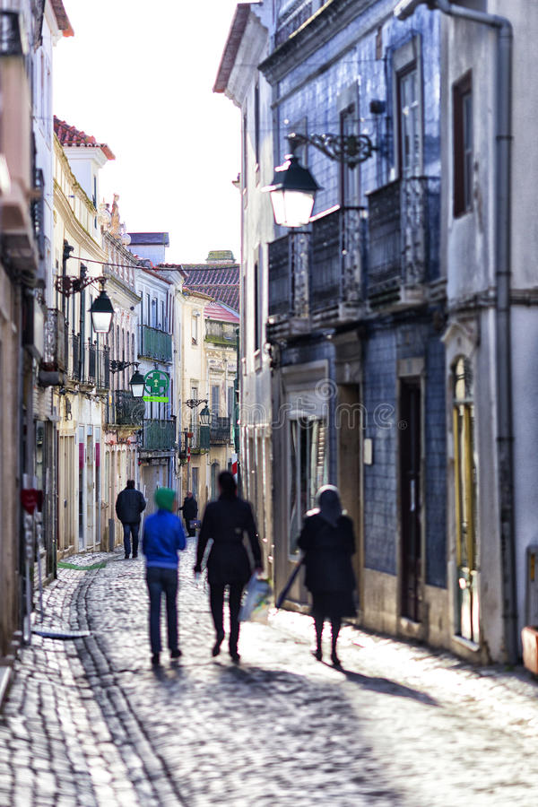Gata i Santarem, Portugal royaltyfri fotografi