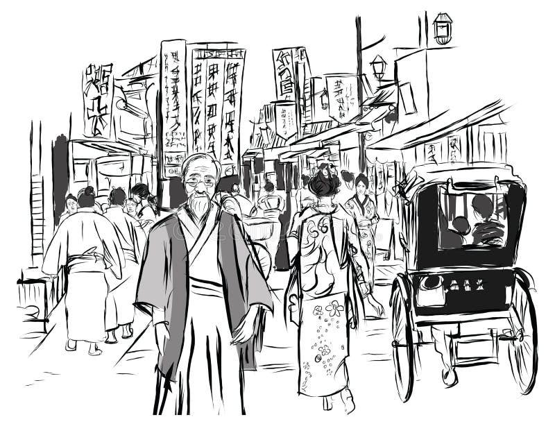 Gata i Tokyo med folk i traditionell klänning royaltyfri illustrationer