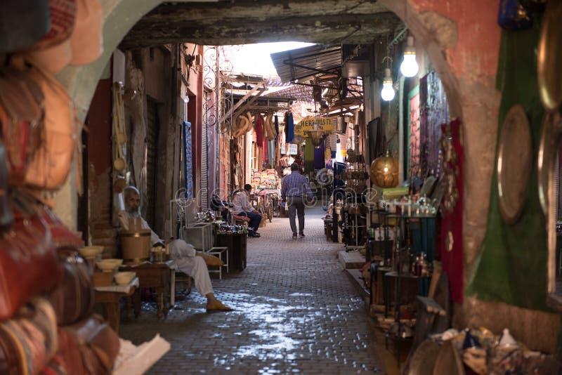 Gata i zocoen i Marrakech, Morroco arkivfoto