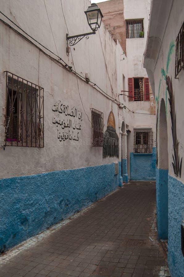 Gata Marocko, blått, medina, casablanca fotografering för bildbyråer