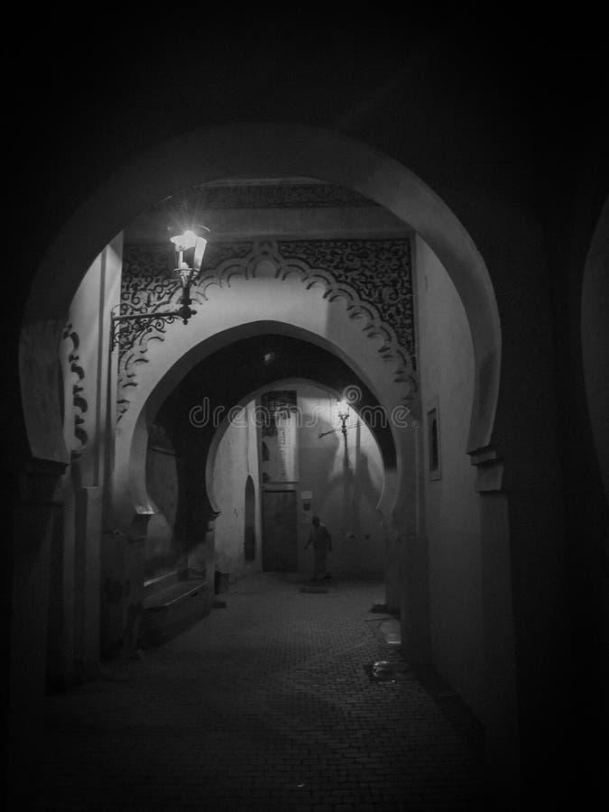 Gata Marocko, blått, medina, marrakech fotografering för bildbyråer