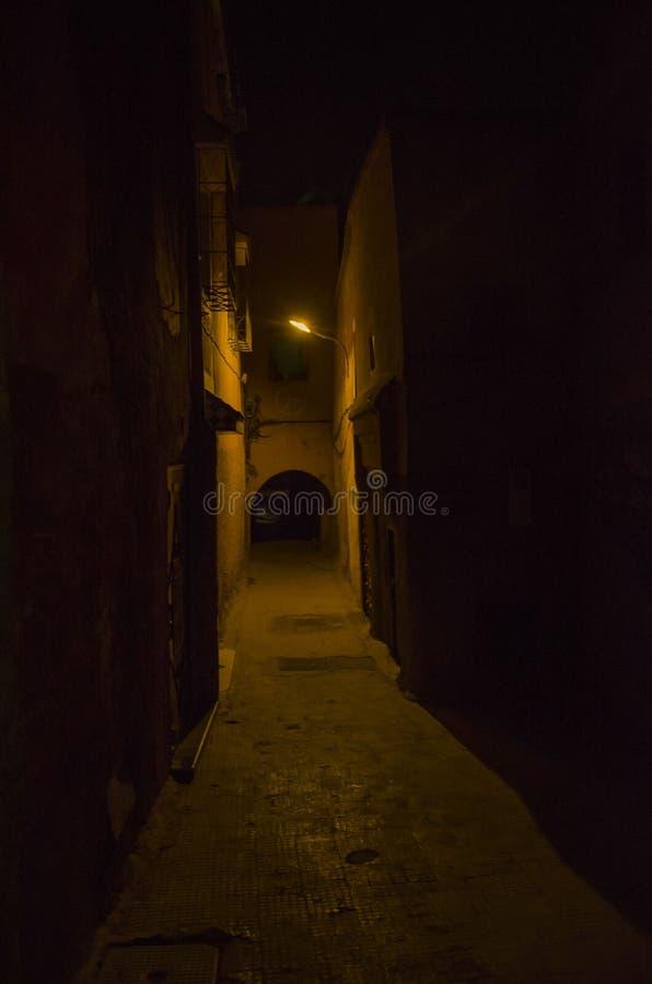 Gata Marocko, blått, medina, marrakech arkivfoton