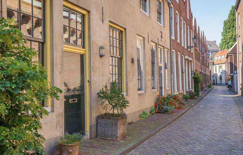 Gata med gamla hus i den historiska mitten av Zwolle royaltyfria foton