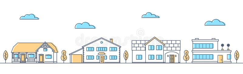 Gata med olika bosatta hus Stugor i rad royaltyfri illustrationer