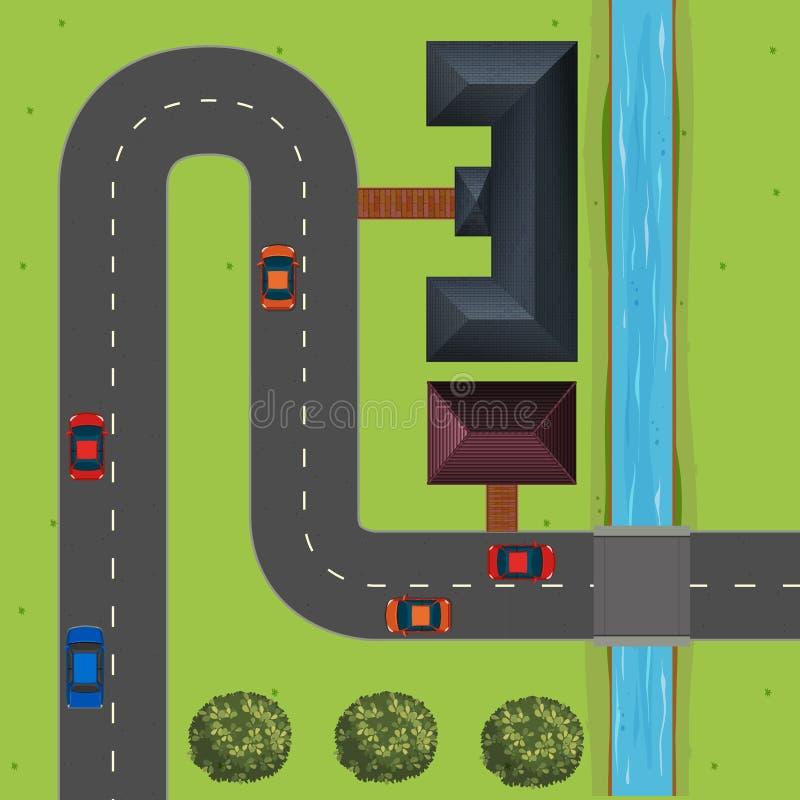 Gata mycket av bilar stock illustrationer
