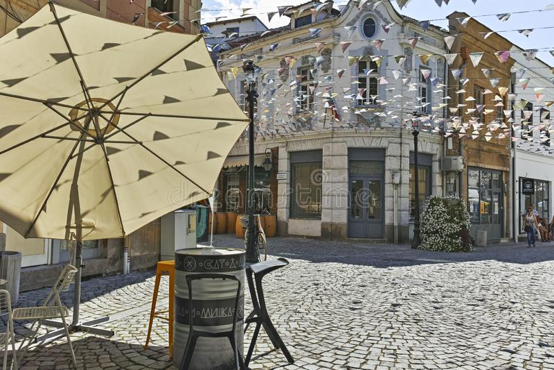 Gata och hus i omr?det Kapana, stad av Plovdiv arkivfoto