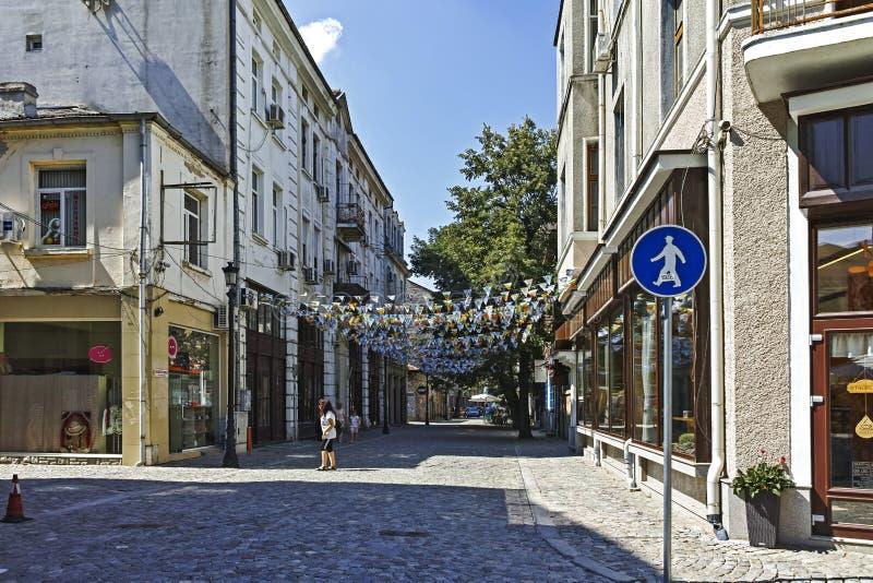 Gata och hus i omr?det Kapana, stad av Plovdiv fotografering för bildbyråer