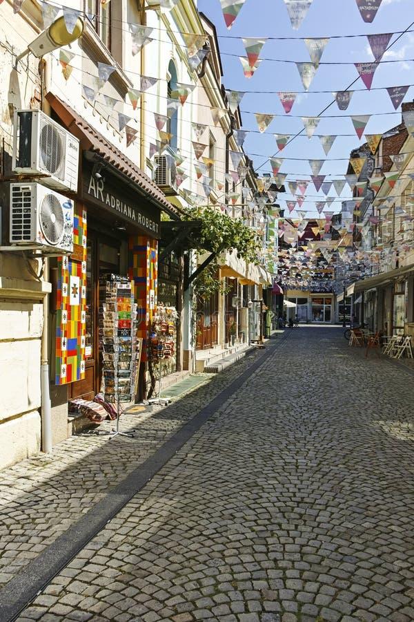 Gata och hus i omr?det Kapana, stad av Plovdiv arkivfoton
