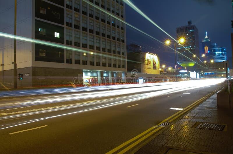 Gata på natten på centralen, Hong Kong royaltyfria foton