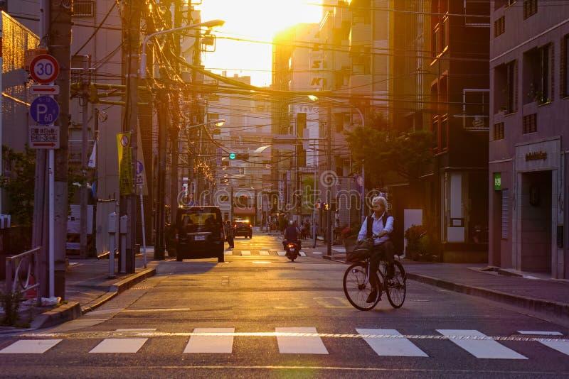 Gata på solnedgången i Tokyo, Japan royaltyfri fotografi